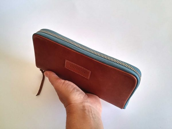 tan leather zip around wallet