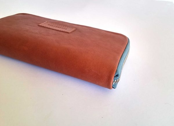 Tan leather wallet back