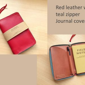 Personalized zipped journal cover red inside and outside