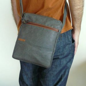 Mens crossbody bag with man wearing it