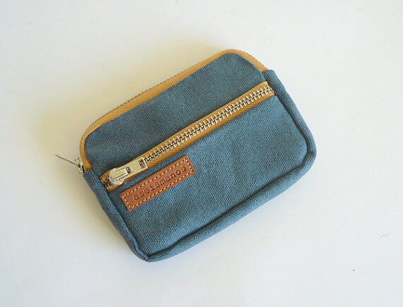 Waxed canvas front pocket wallet 1 flat