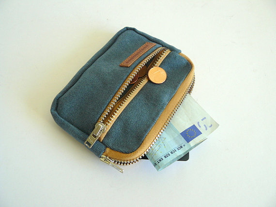 Waxed canvas front pocket wallet showing capacity