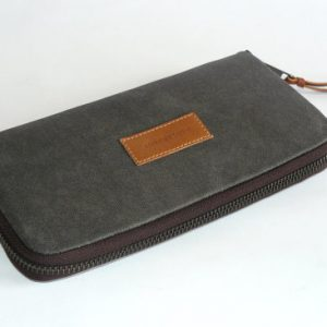 Gray waxed canvas wallet flat view