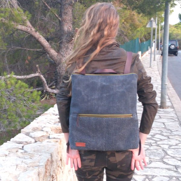 Large backpack worn by girl
