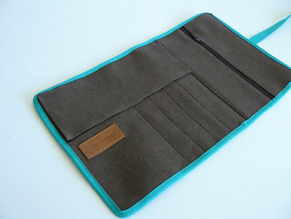 Pencil roll up case brown empty