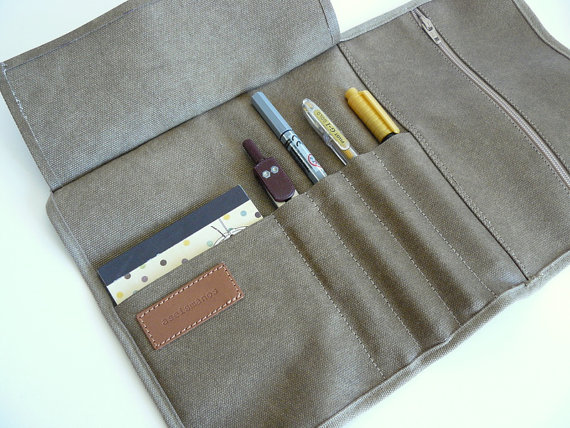 Waxed canvas khaki roll up showing capacity