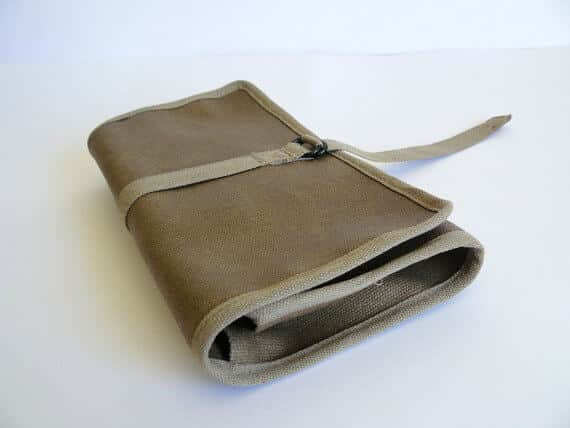 Waxed canvas khaki roll up folded