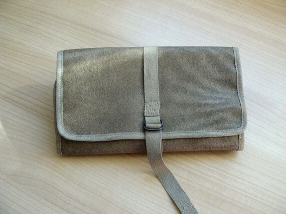 Waxed canvas khaki roll up front