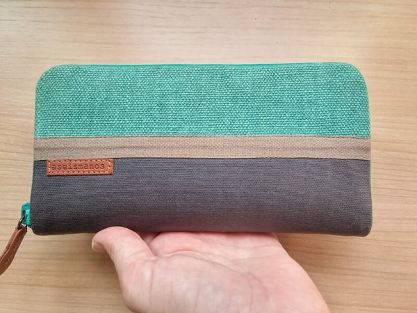 Women's large zip around wallet turquoise 3 with hand