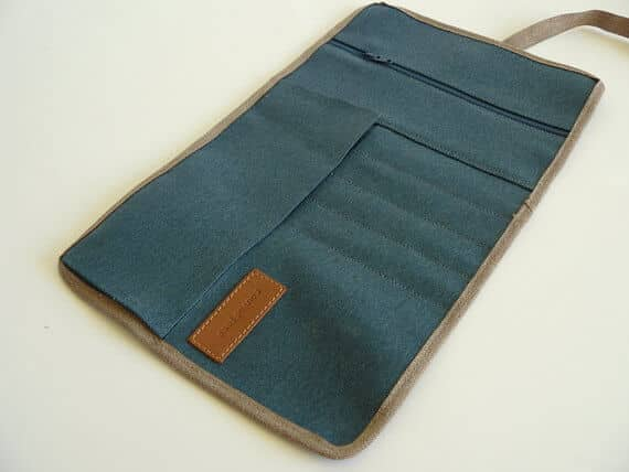 Rollup blue waxed canvas opened
