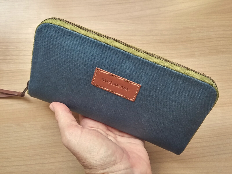 Blue waxed effect canvas womens wallet - ASEISMANOS.com 433ba1bd39