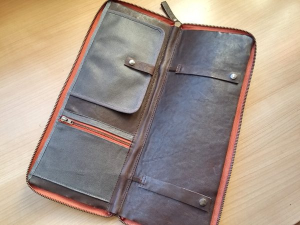 tie leather travel case inside