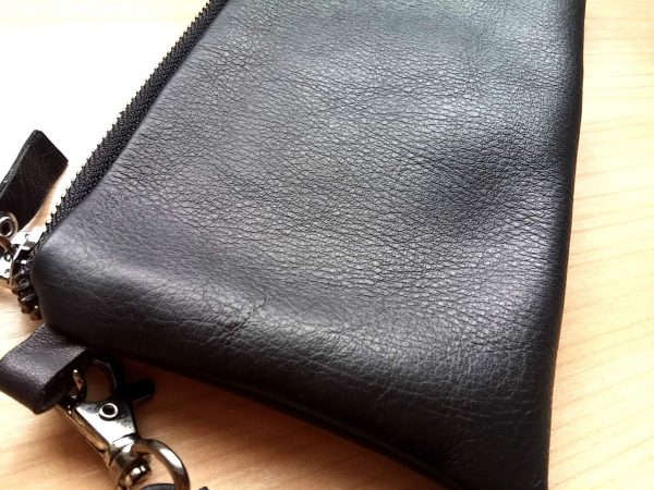 Black leather clutch with wristlet 4 close picture