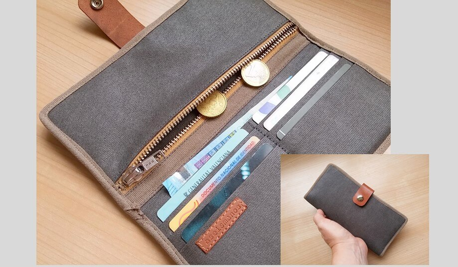 gray bifold wallet in combo