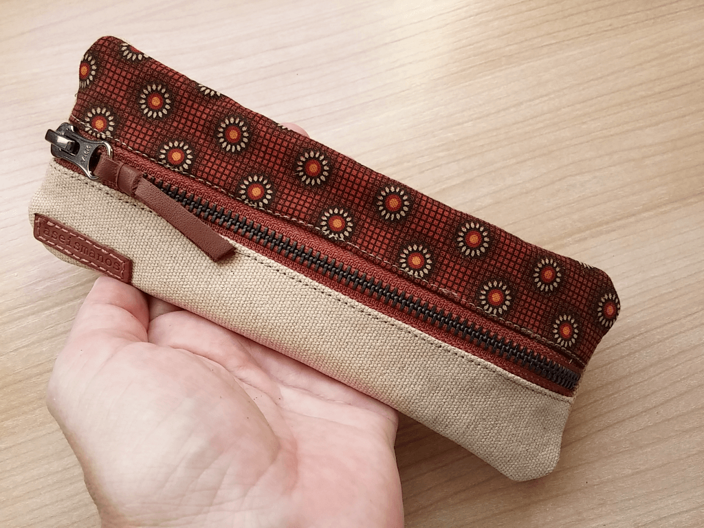 pencil pouch held in hand