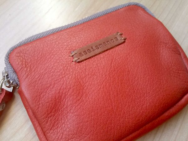 women's leather coin purse showing leather quality