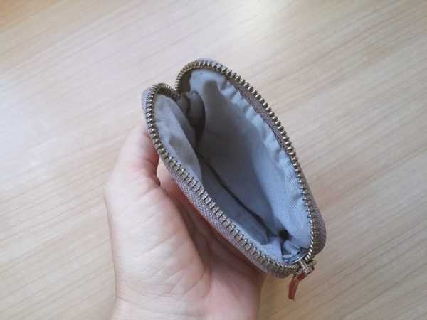 Women's leather coin purse inside