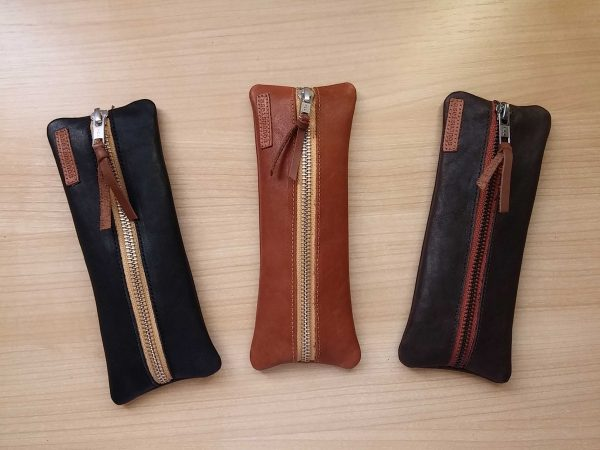 Lleather pen case photo showing all colors