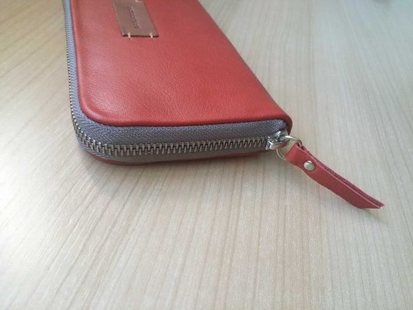 large women leather wallet side view