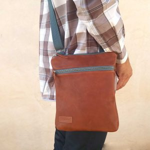 aseismanos Men's leather flat crossbody bag 1 wearing it