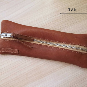 Leather pen case close photo