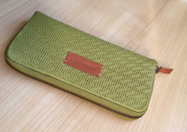 Large moss leather wallet close view