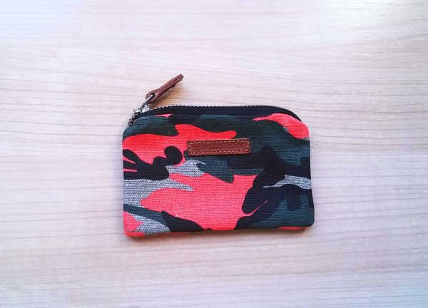 camo fluo orange coin purse