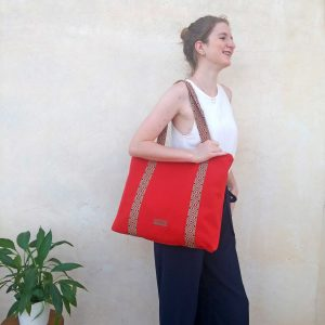 canvas tote bag with model
