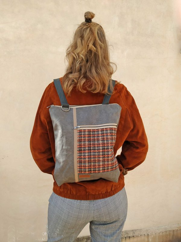 orange tweed backpack