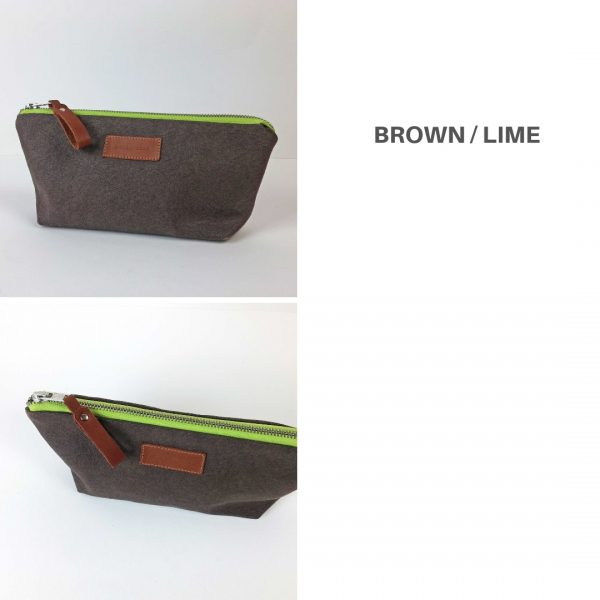 brown and lime pencil case