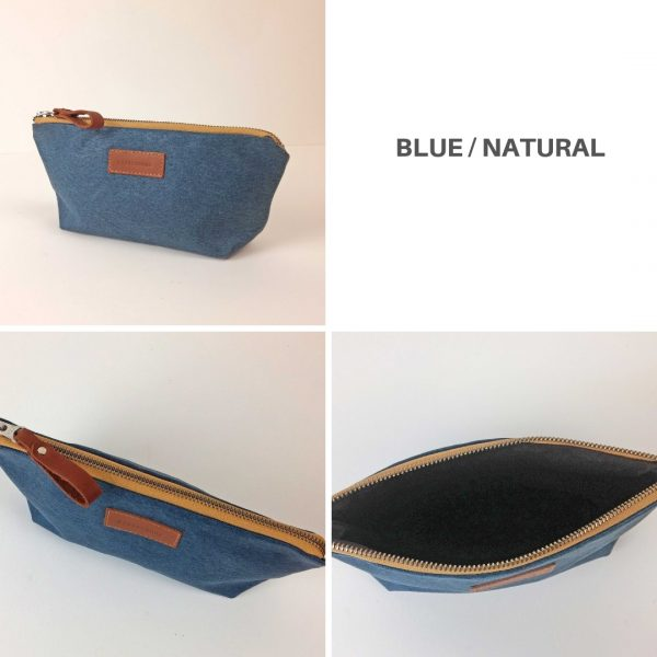 blue and beige pencil case