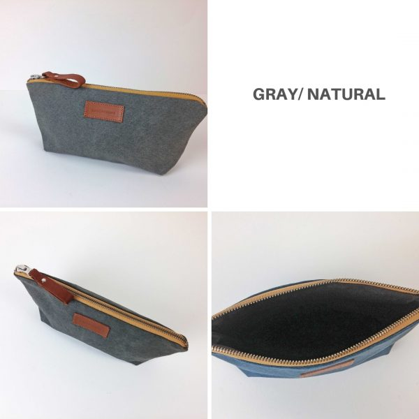 gray and beige pencil case