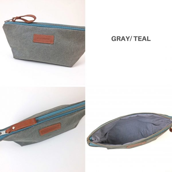 gray and teal pencil case