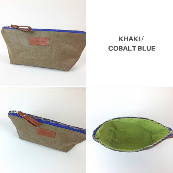 khaki and blue pencil case