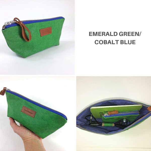 green and cobalt blue pencil case