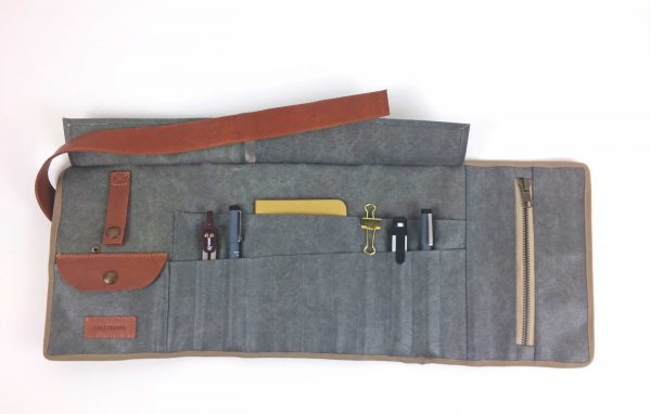 pencil case roll up with items inside