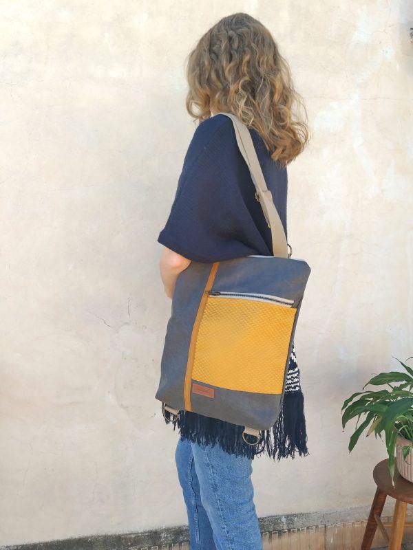 mustard backpack wearing it as a shoulder bag