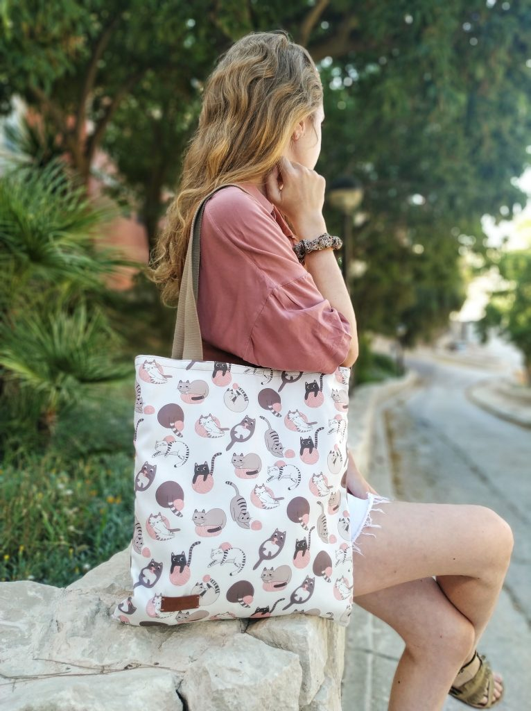 tote bag being worn