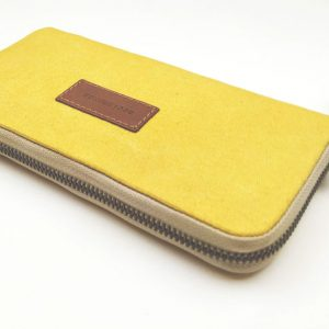 yellow large aseismanos wallet showing zipper color