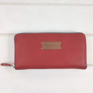 red leather wallet front view