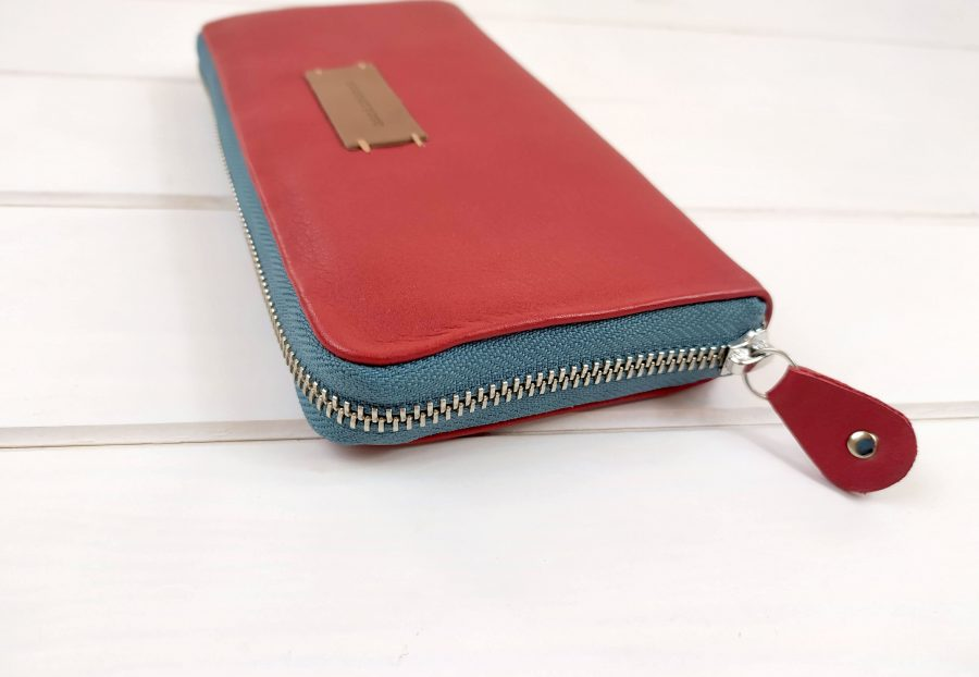 red leather side view