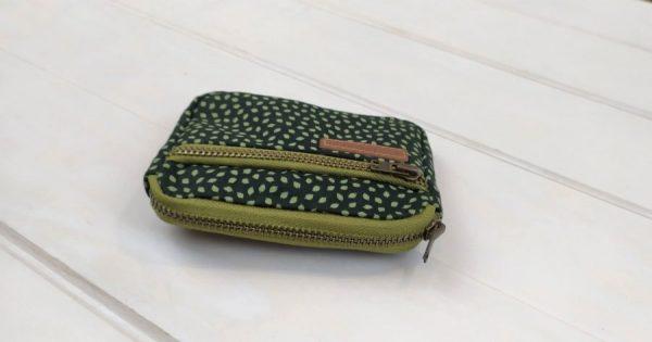 top wallet view showing zippers